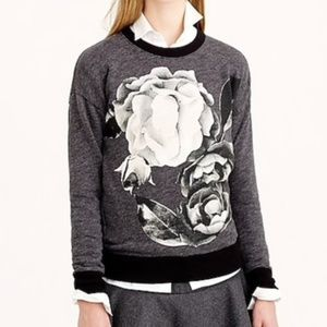 J. Crew Exploded Floral Gray Sweatshirt